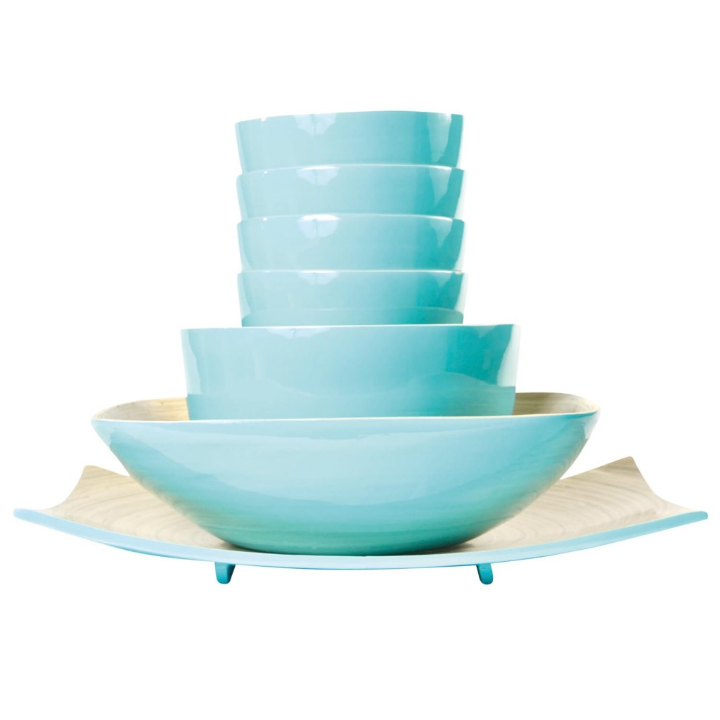 Blue Bamboo Bowls - Set of 7 _de