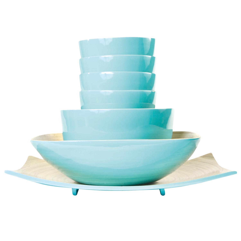 Blue Bamboo Bowls - Set of 7 _de