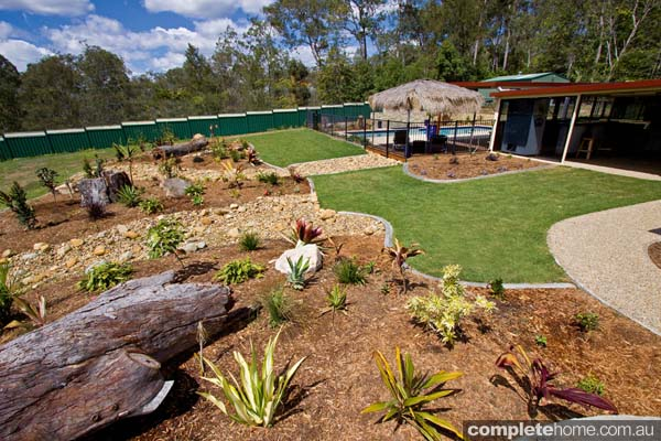 Awash with subtropical plants, this lush garden provides an aura of tranquility