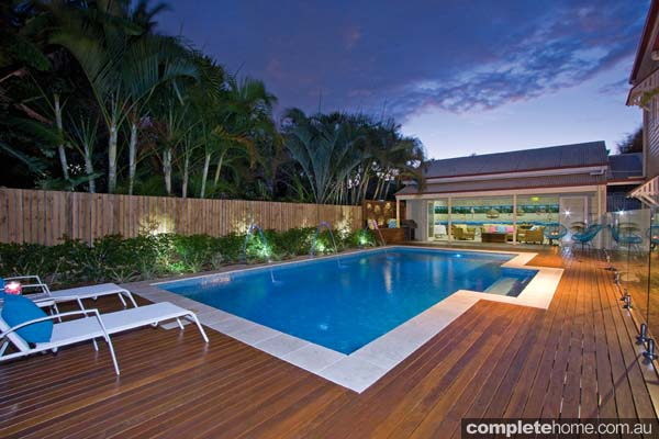 Expertly finished and landscaped, this pool is made for stylish entertaining