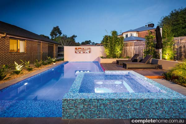 When raising a young family, certain elements of a pool design become more important. For the owners of this pool, safety and functionality were high priorities.