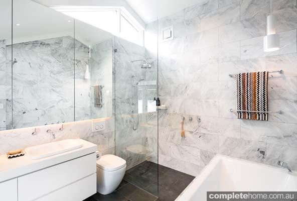 Sleek and indulgent marble bathroom