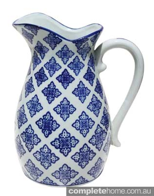 Blue And White Diamond Flower Pitcher Jug