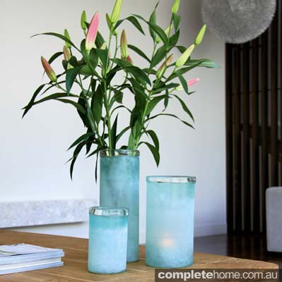Gorgeous Glass Vases in Aqua Blue.