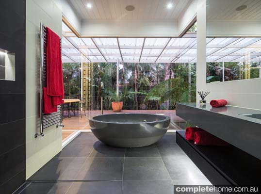 Glass-walled bathroom beauty