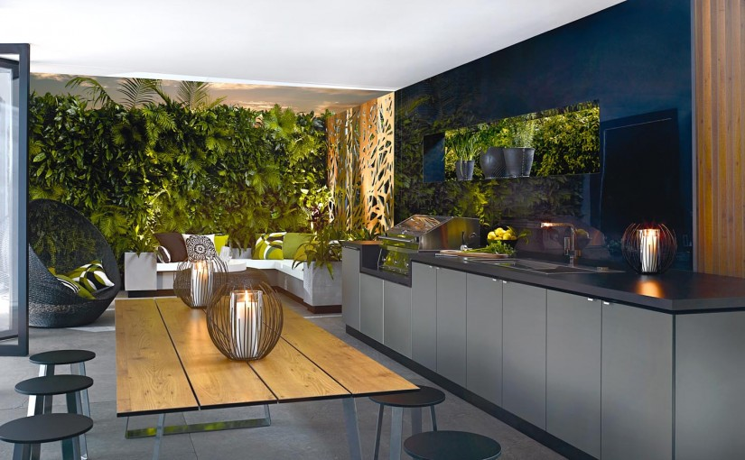 Vertical gardens and metal screens create the perfect outdoor area.