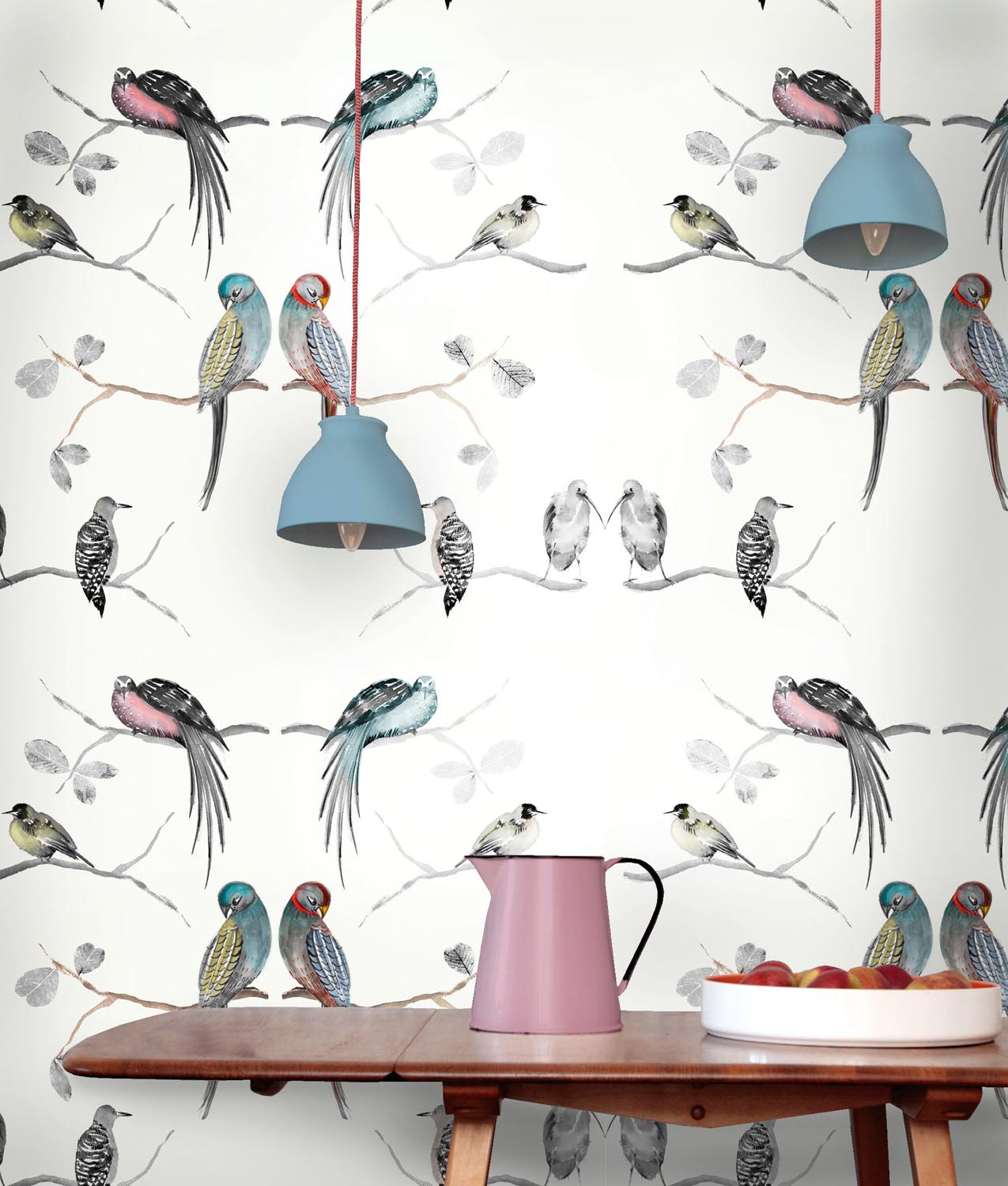 Perched birds cream wallpaper
