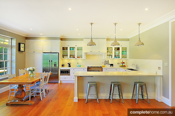 Relaxed living contemporary white kitchen completehome for Federation kitchen designs