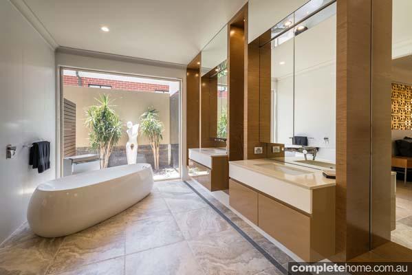 Private oasis: Caramel-toned bathroom