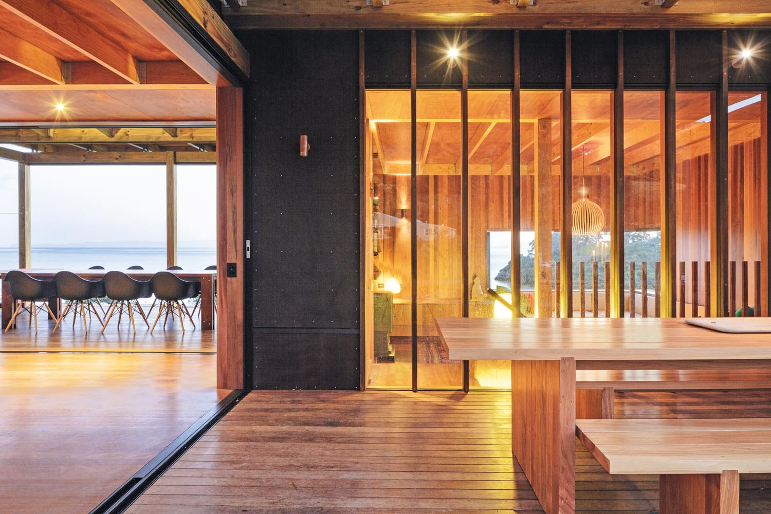 The living pavilion has spectacular views over Whangarei Heads in New Zealand's NorthlandGRAND