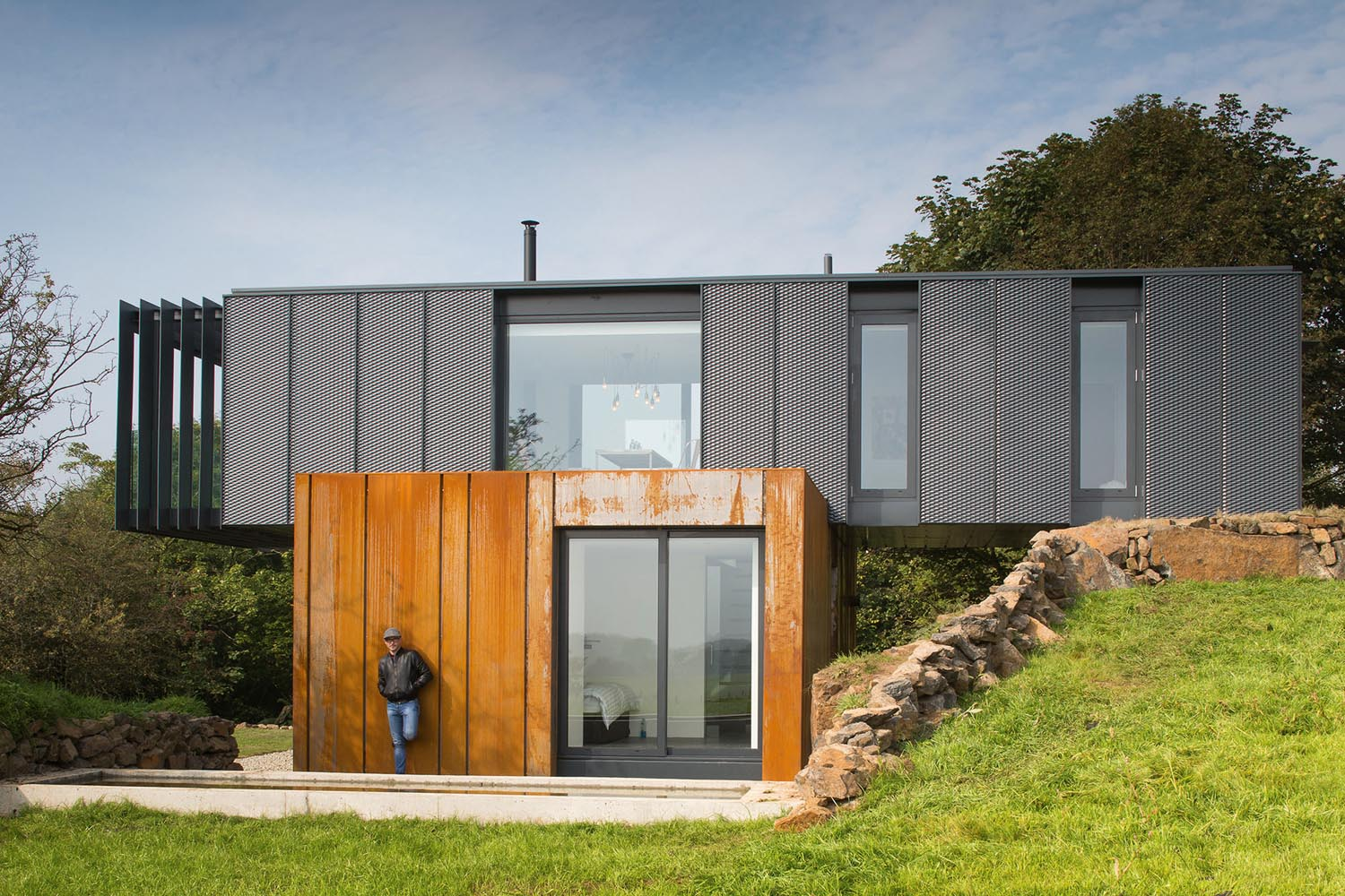 Patrick built his innovative home on a plot on the family farm