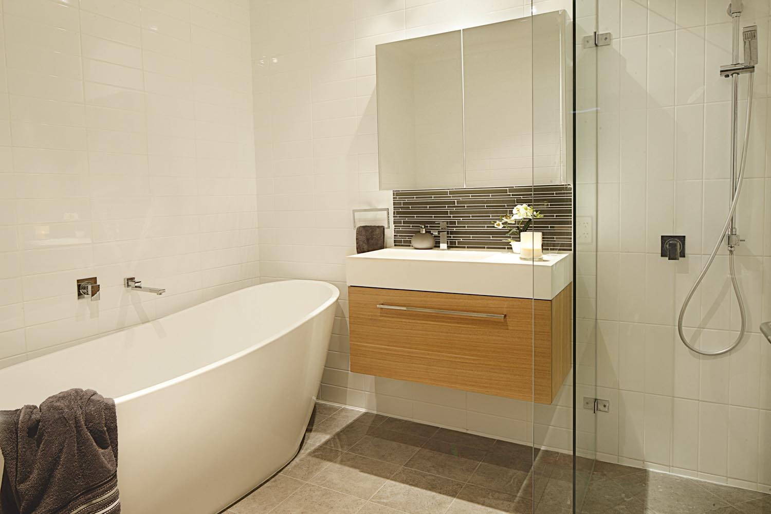 A free-standing bath is a luxe addition to a minimalist bathroom