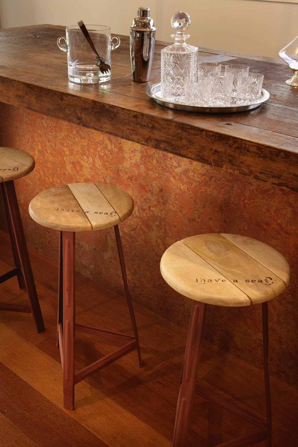 Timber on timber on timber. We just can't get enough of these stools