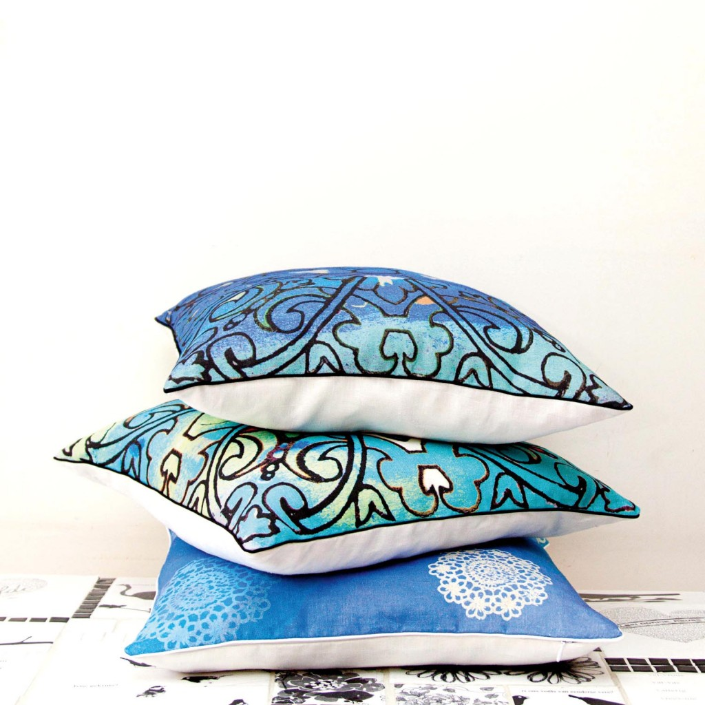 Blue cushions in their new Sisterhood Collection Cushion Range