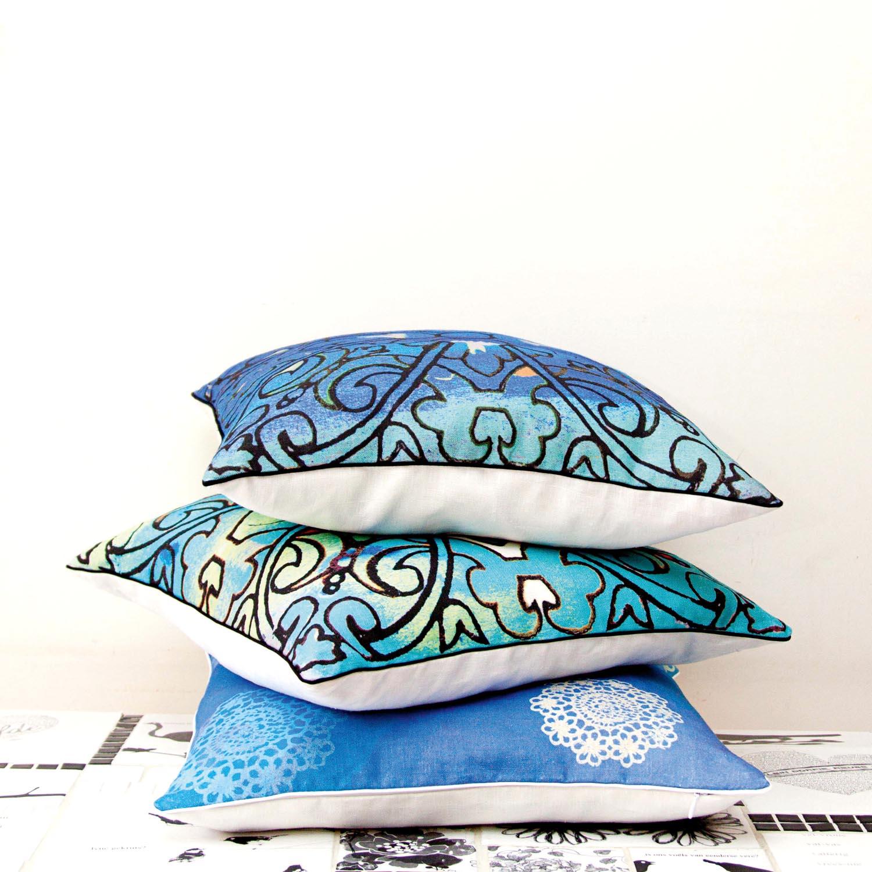 Blue cushions in their new Sisterhood Collection Cushion Range