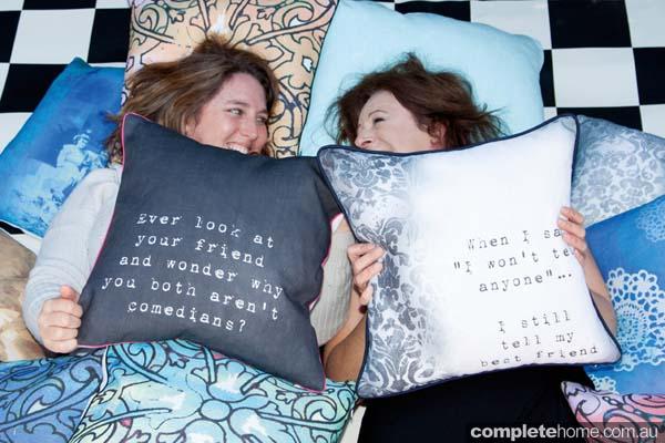 Eriana & Lynie - creators of the Sisterhood Cushion Collection