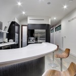 A kitchen with curves