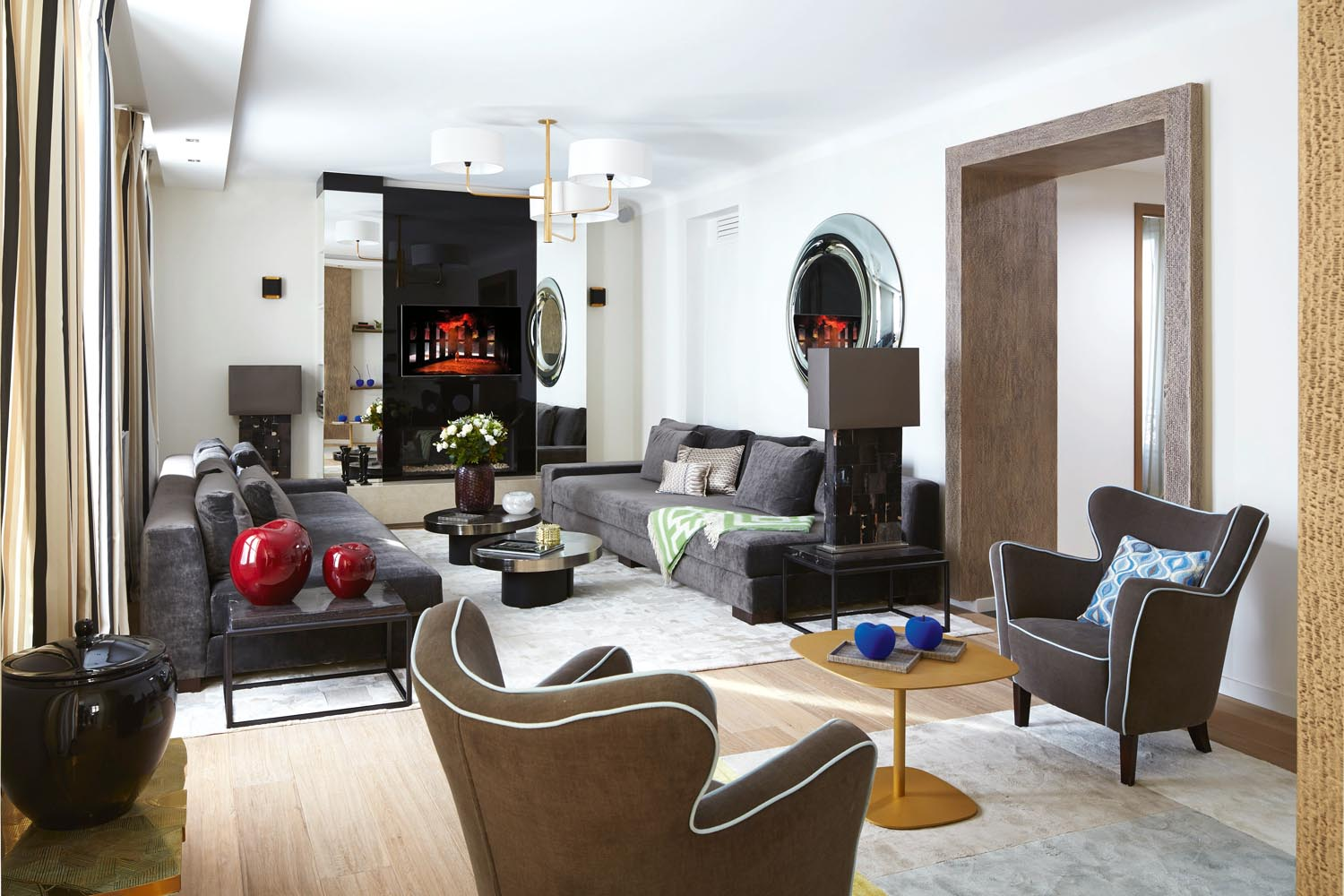 Comfort is king in this living room, with greys and browns adding to the laidback atmosphere