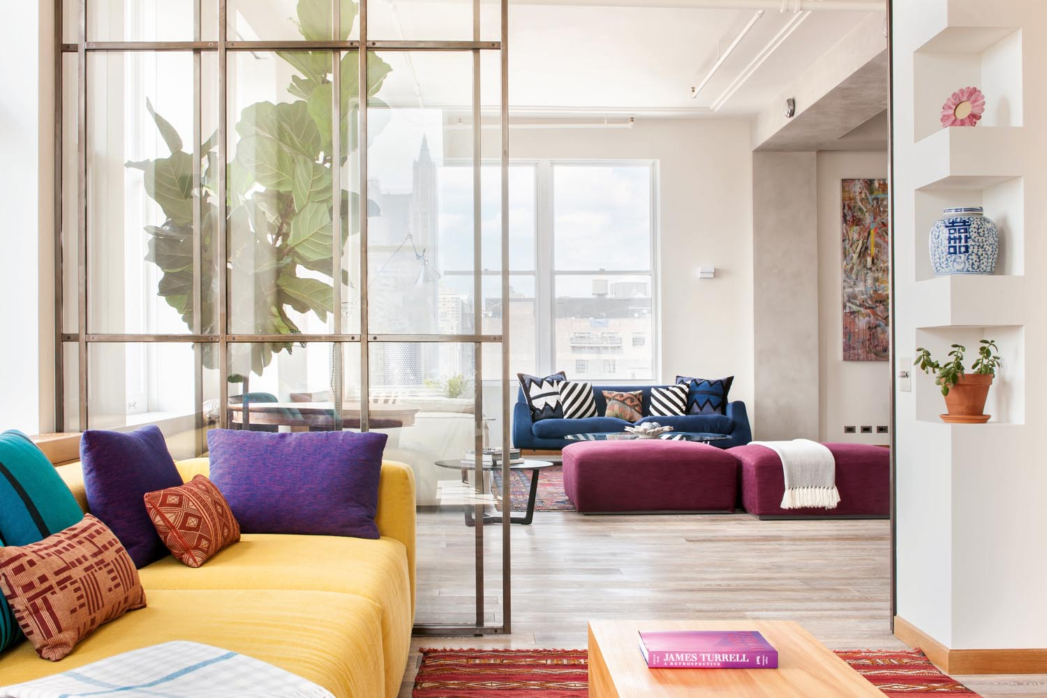 Clashing colours with patterns adds excitement to the room