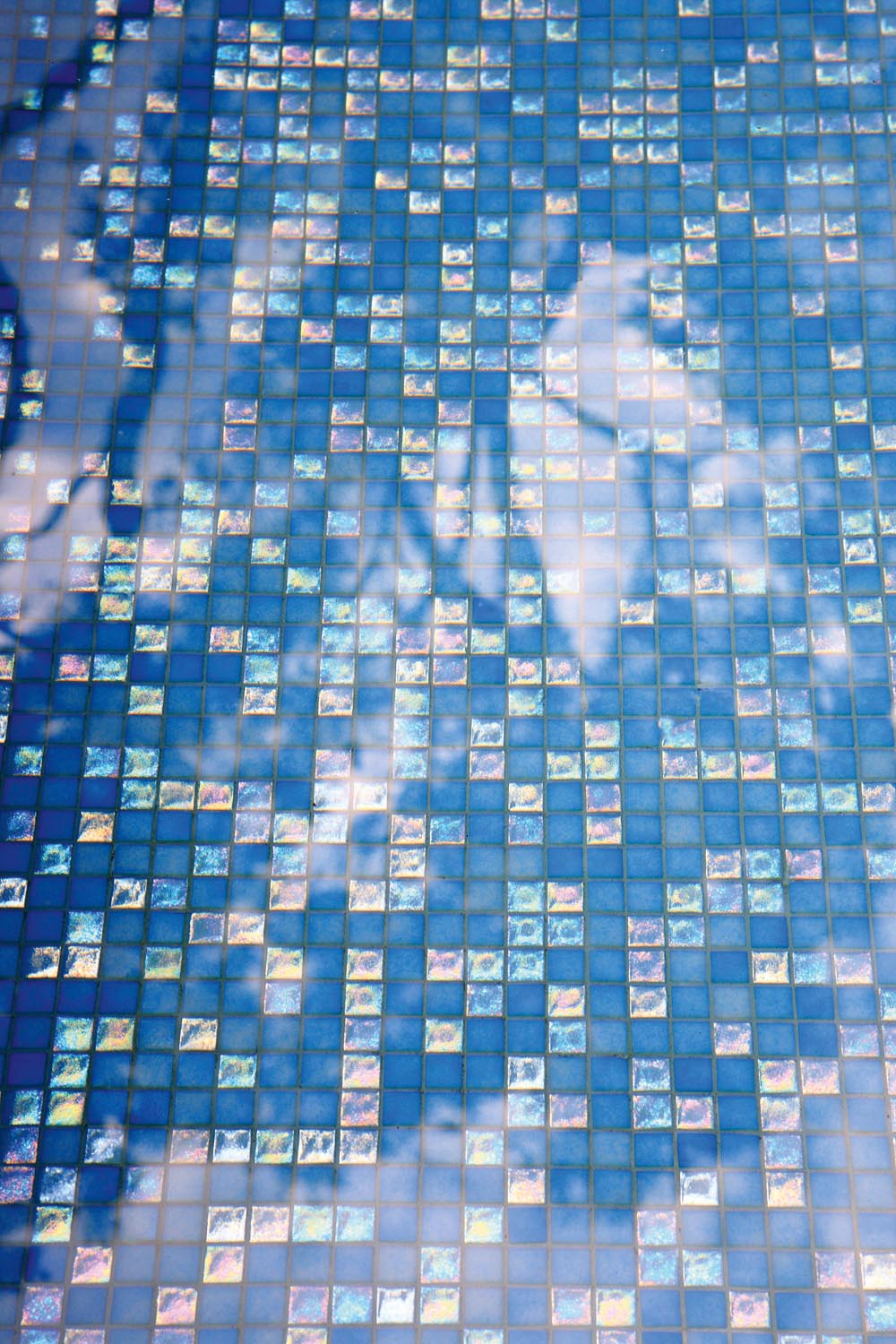 Blue shiny pool tiles