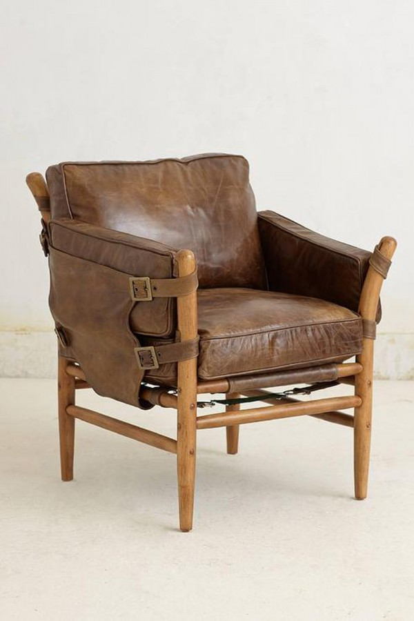 Rustic leather and timber chair, decorpad.com