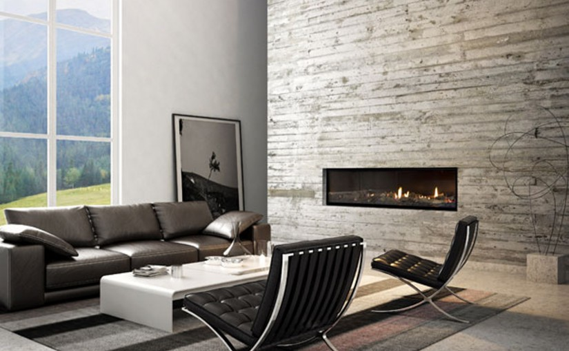 Glass-fronted fireplace