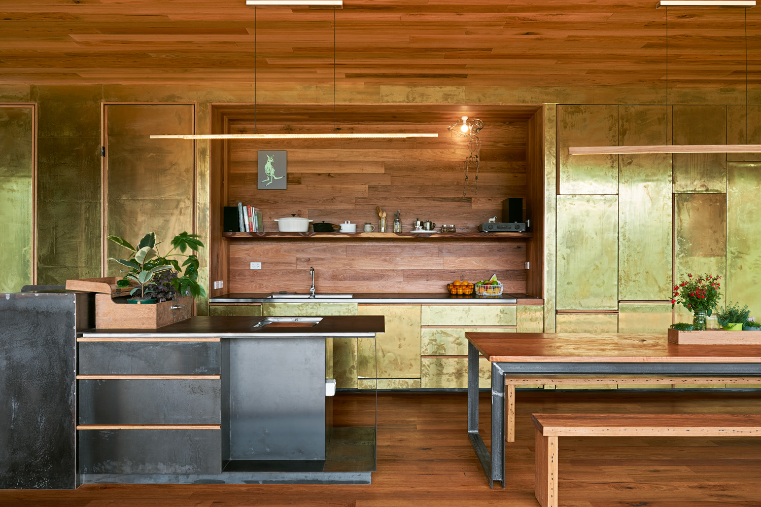 Copper walls and cabinetry play off against the