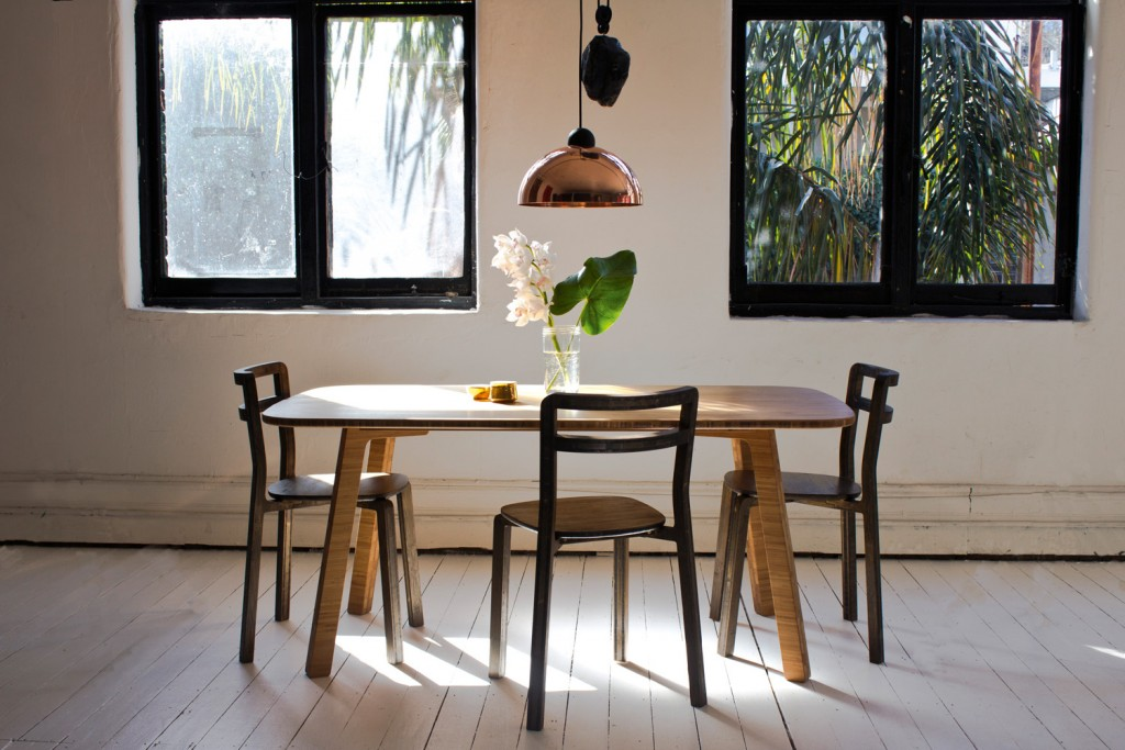 Boo contemporary dining table, $2400, and chairs, POA, b-td.com