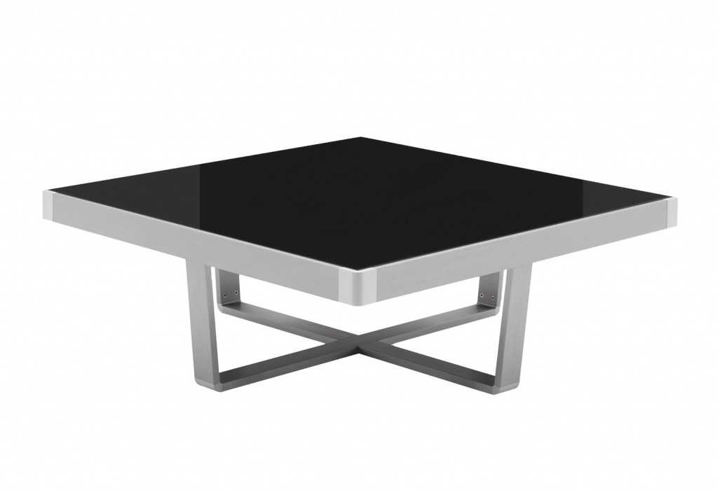 Opaque, dark grey glass rests inside an anodised aluminium frame to create the sleek and modern look of the Slide square coffee table. Place it in front of a chaise or between a two- or three-seater sofa. beyondfurniture.com.au