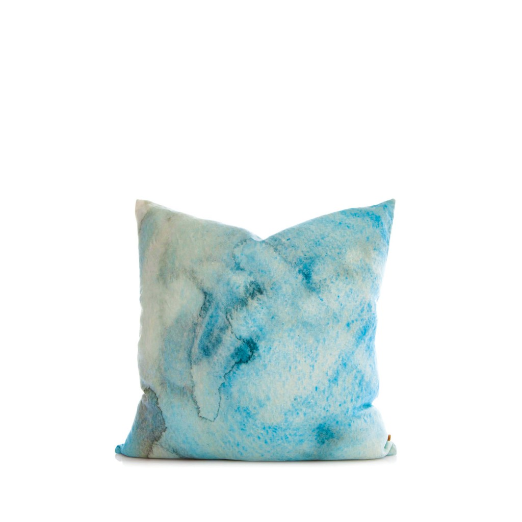 Penney + Bennett Blue Water silk cushion, $129, urbancouture.com.au