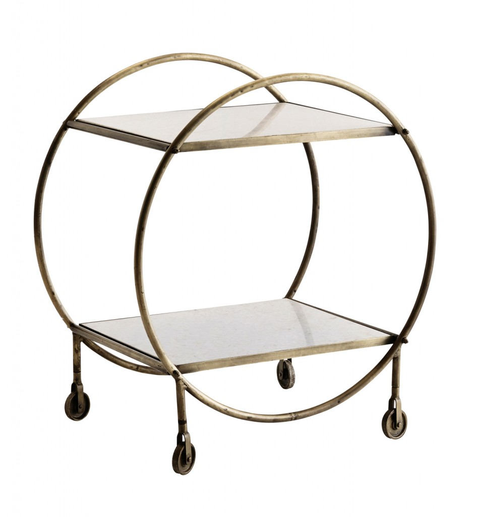 This retro-inspired drinks trolley features an antique brass frame and white marble surface. Go against the grain and have a little fun with your interiors. greenwithenvy.co.nz