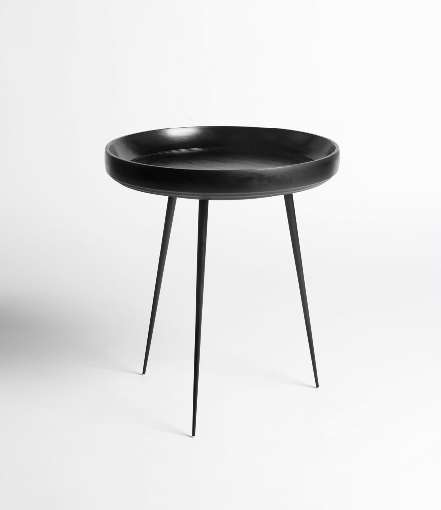 Bowl table in mango wood and steel by Mater, $784, cultdesign.com.au