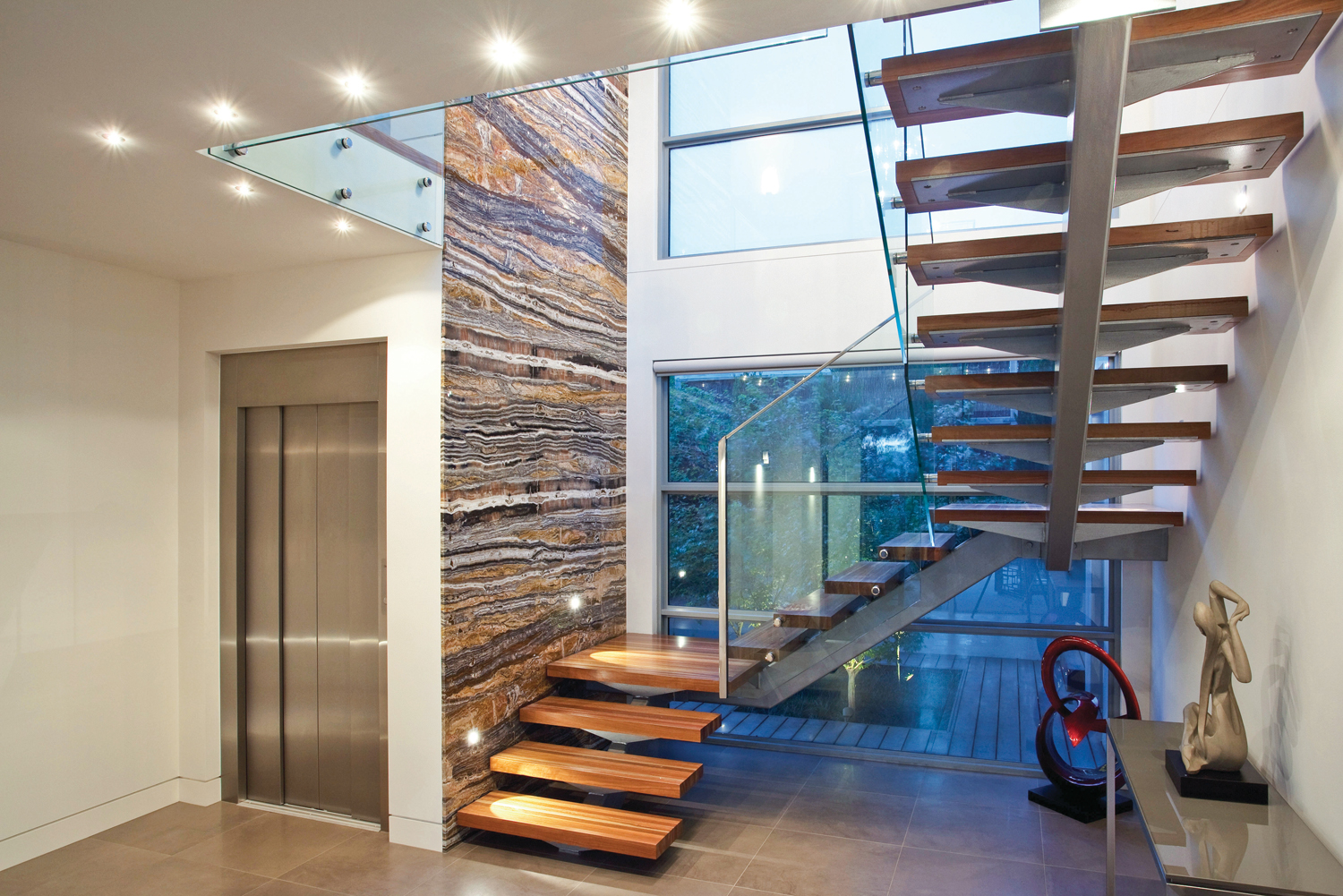 This contemporary home was built with a variety of materials.