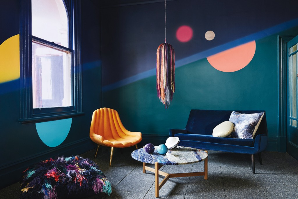 Bree Leech & Heather Nette King for Dulux Colour Trends 2016 — Infinite Worlds palette. Photographer: Lisa Cohen. Featuring Pile High Club floor cushion by Elise Cakebread