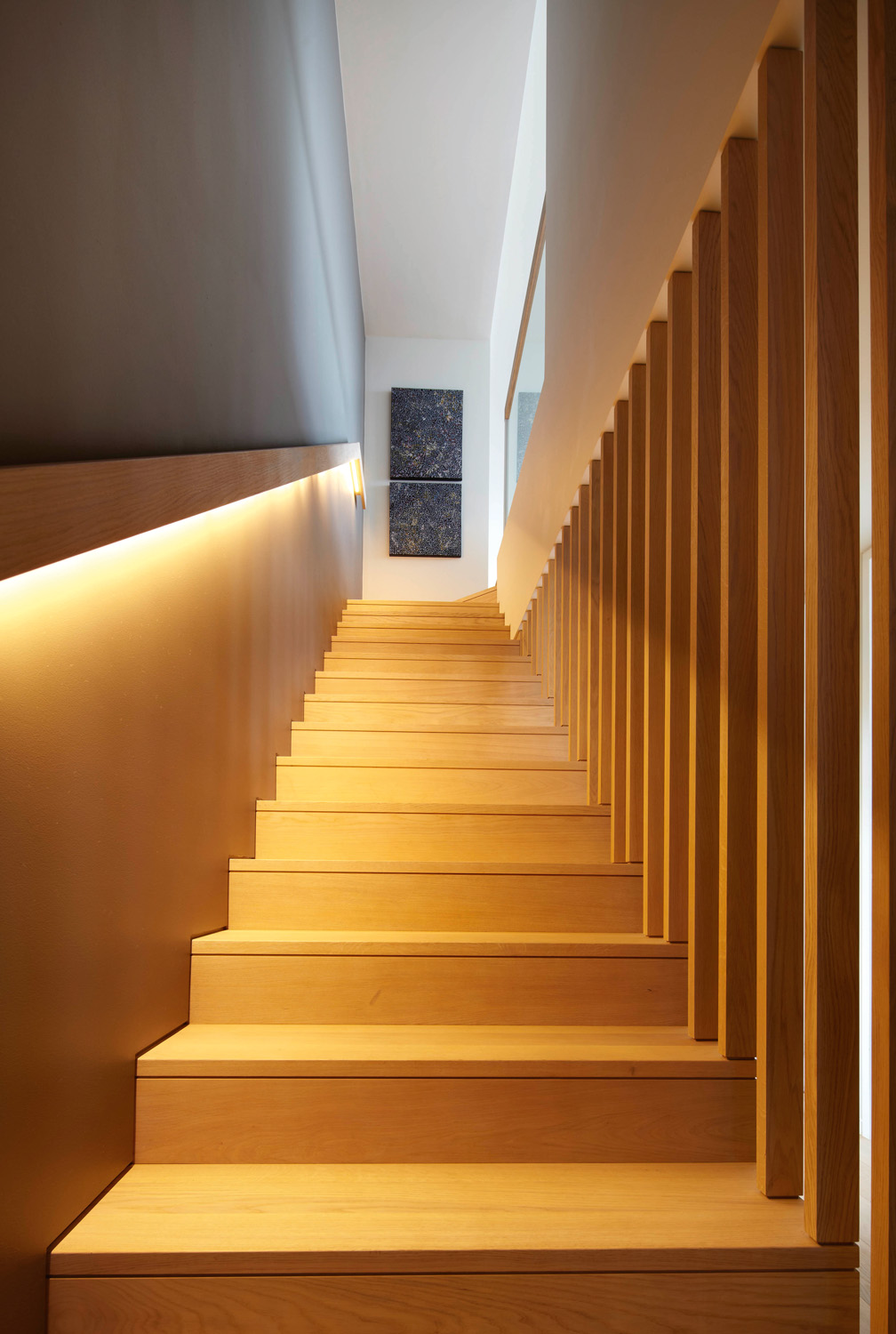 A timber staircase is a stunning addition to the space