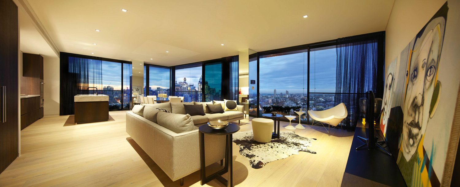 Views of the city can be enjoyed from all angles in the living area