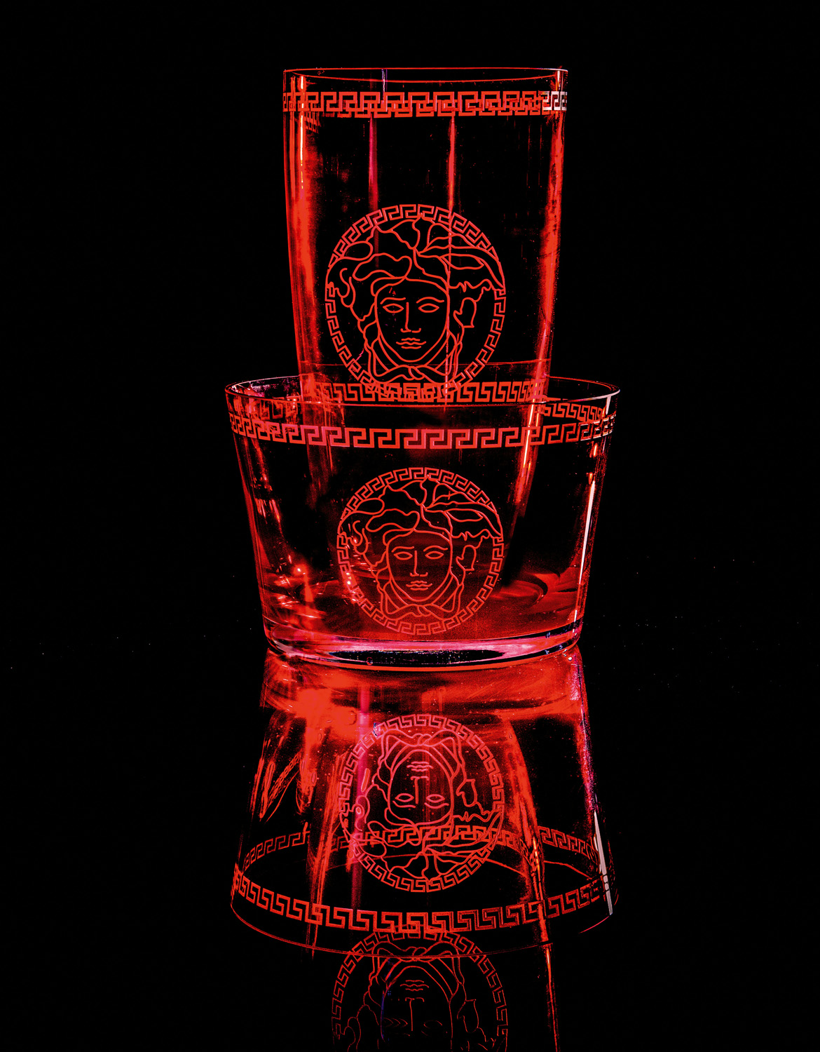Versace Home Medusa crystal red vase and bowl from palazzocollezioni.com.au