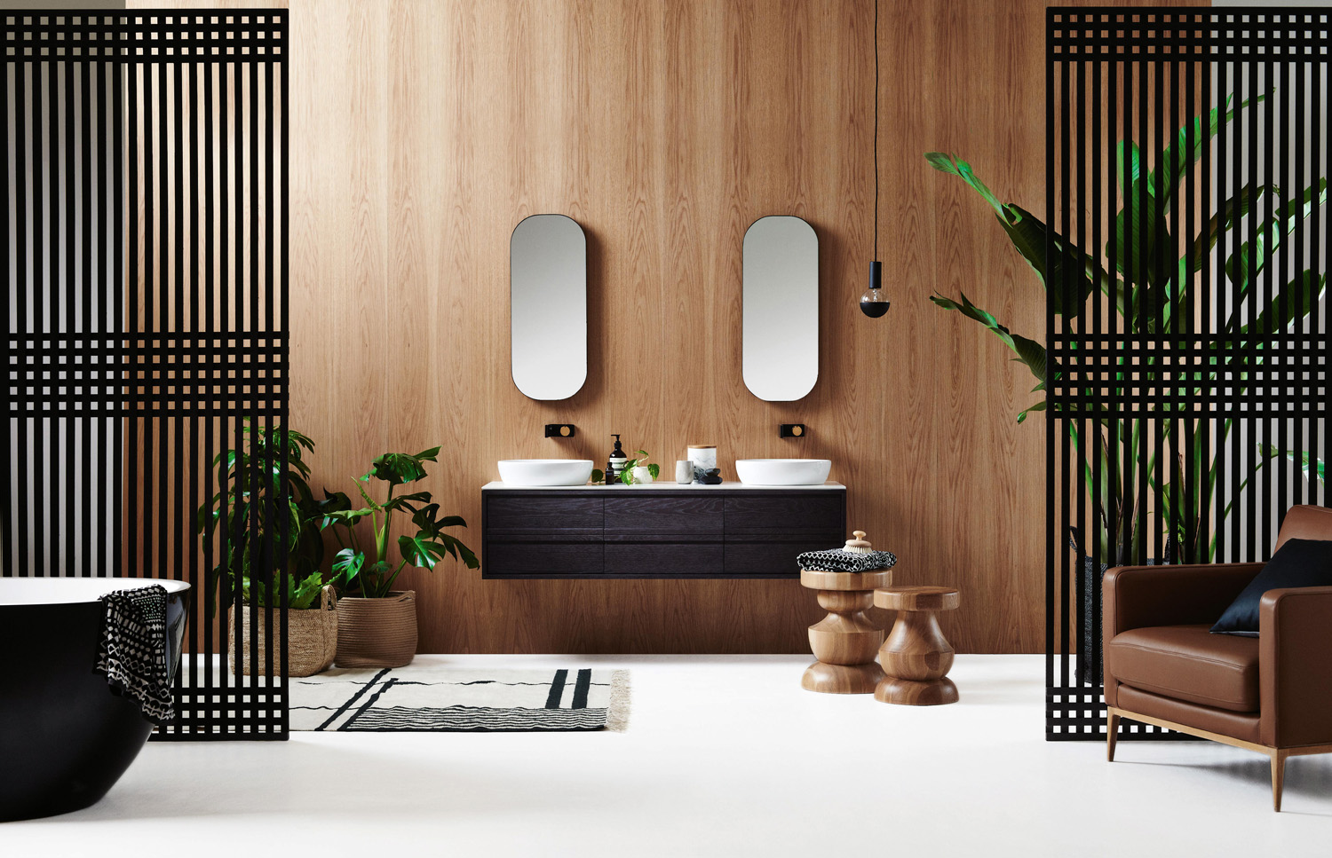 ISSY Z8 6 Drawer Vanity 1500 and ISSY Z1 Oval Mirror 380 (in situ front view)
