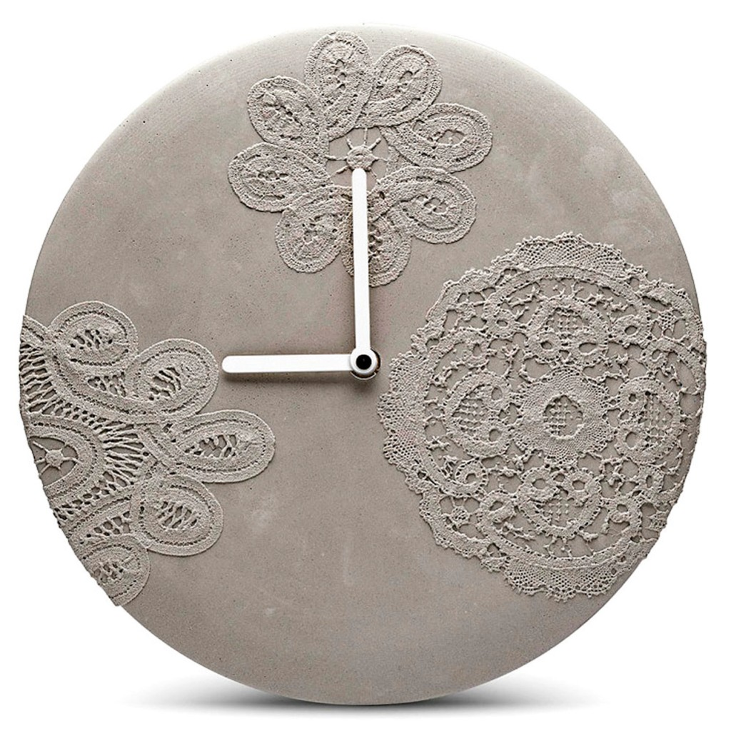 ensch Made concrete wall clock in lace design, $184.90, thedesigngiftshop.com