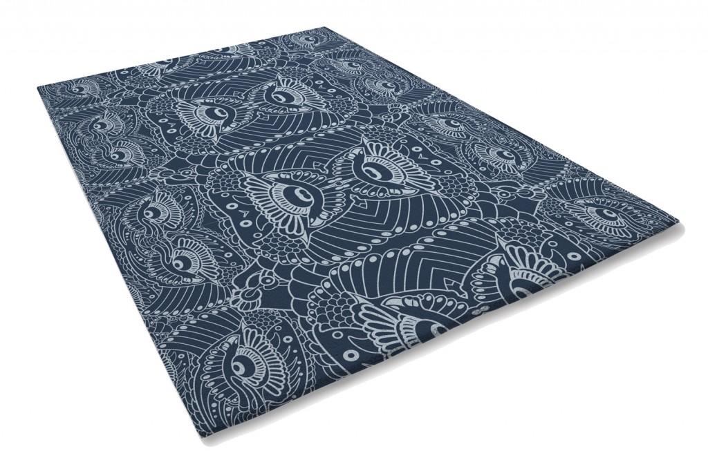 Art Deco lace designer rug in blue, from $1249, xavierandme.com