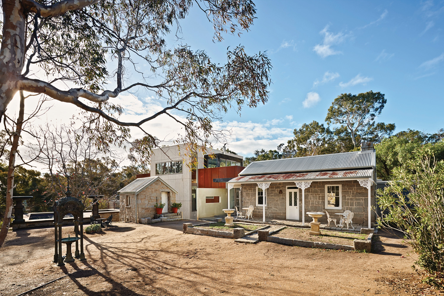 The original cottages are joined to the new renovation, preserving  a little bit of history