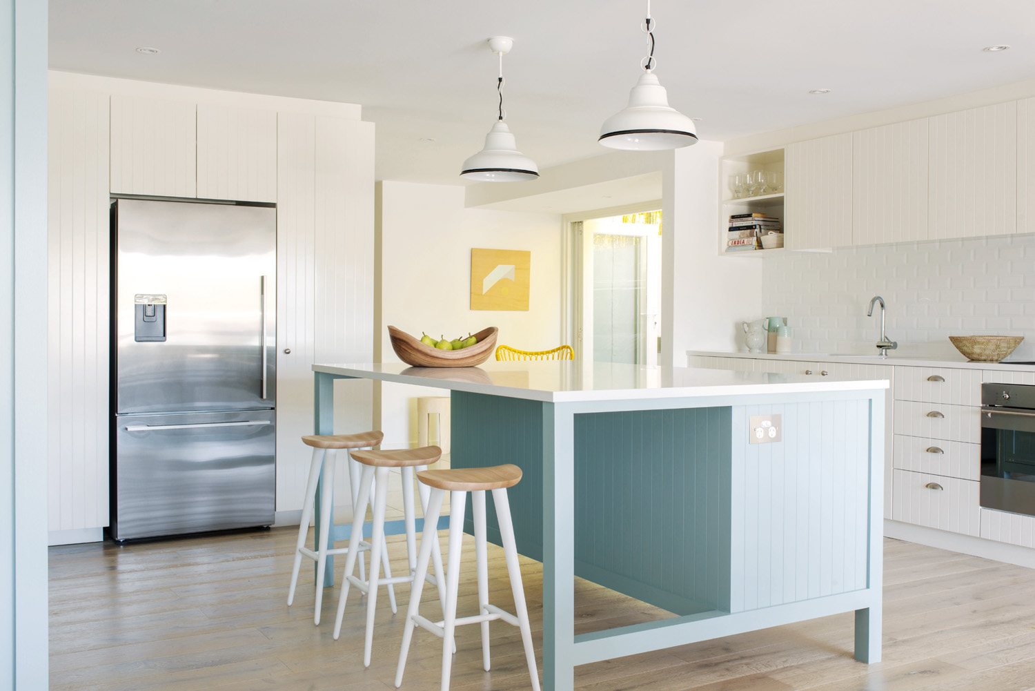 The calming sage colour is the ideal hue for the kitchen
