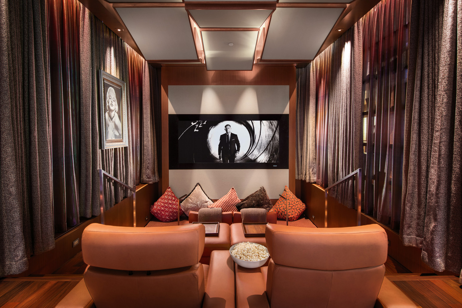 No need to venture out for a movie, there's a private cinema in the home