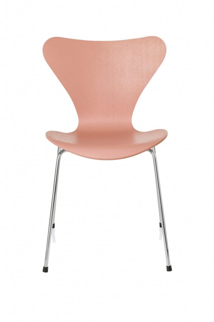 Fritz Hansen Series 7 chair in Altstadt Rose by Tal R, cultdesign.com.au