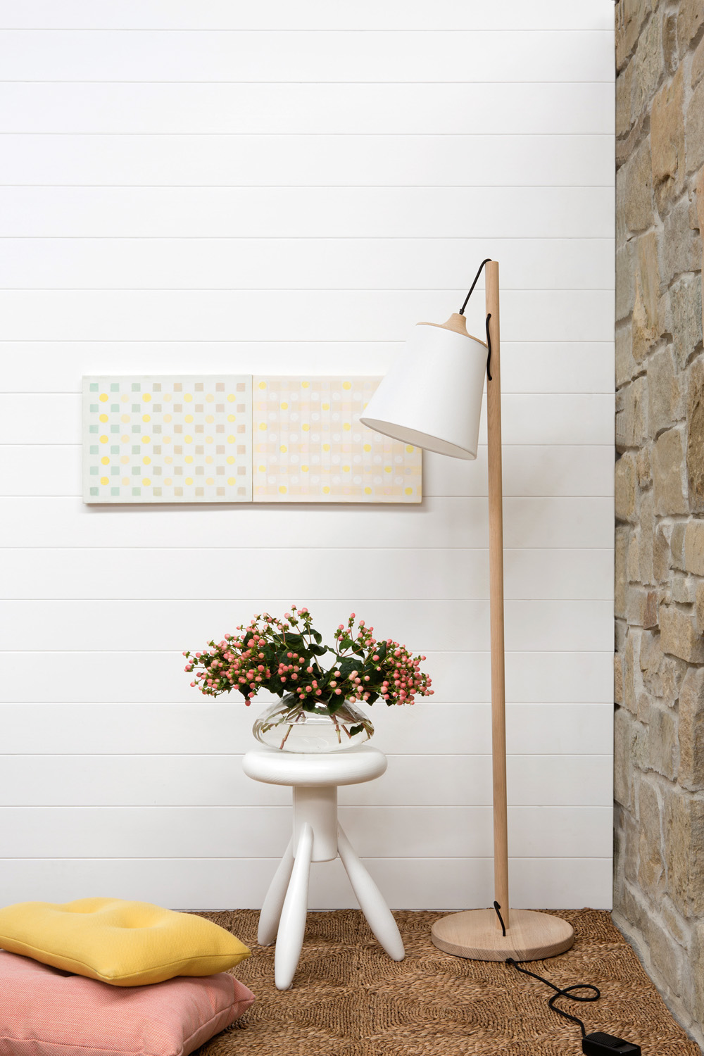 The classic, white gloss lining boards from GLOSSWOOD give a fresh look to any room and are incredibly versatile. Shown here as the backdrop to a Scandinavian-style interior, they also suit a minimal, Hamptons, country or coastal aesthetic. glosswood.com.au