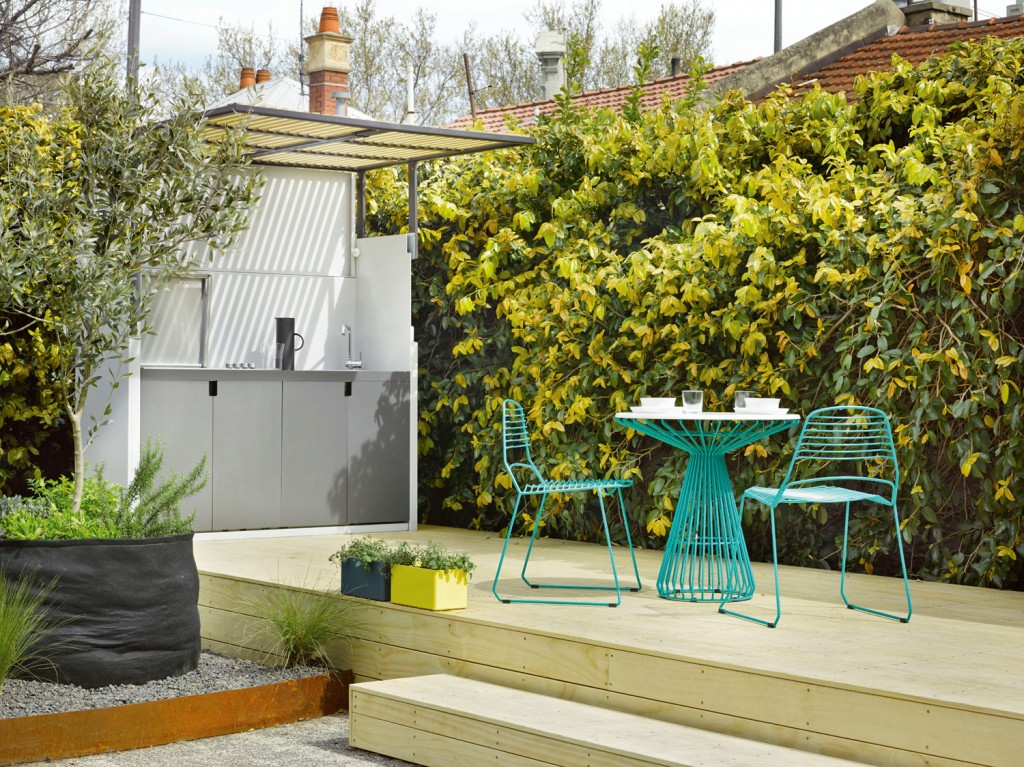 Lack of garden space is no barrier with the clever Tilt by Tait foldaway outdoor kitchen.