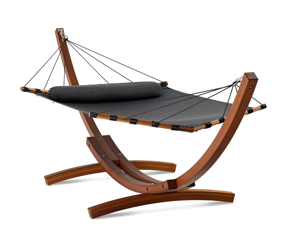 A comfy designer hammock with handcrafted, hard-wearing kwila stand from Lujo www.lujo.com.au