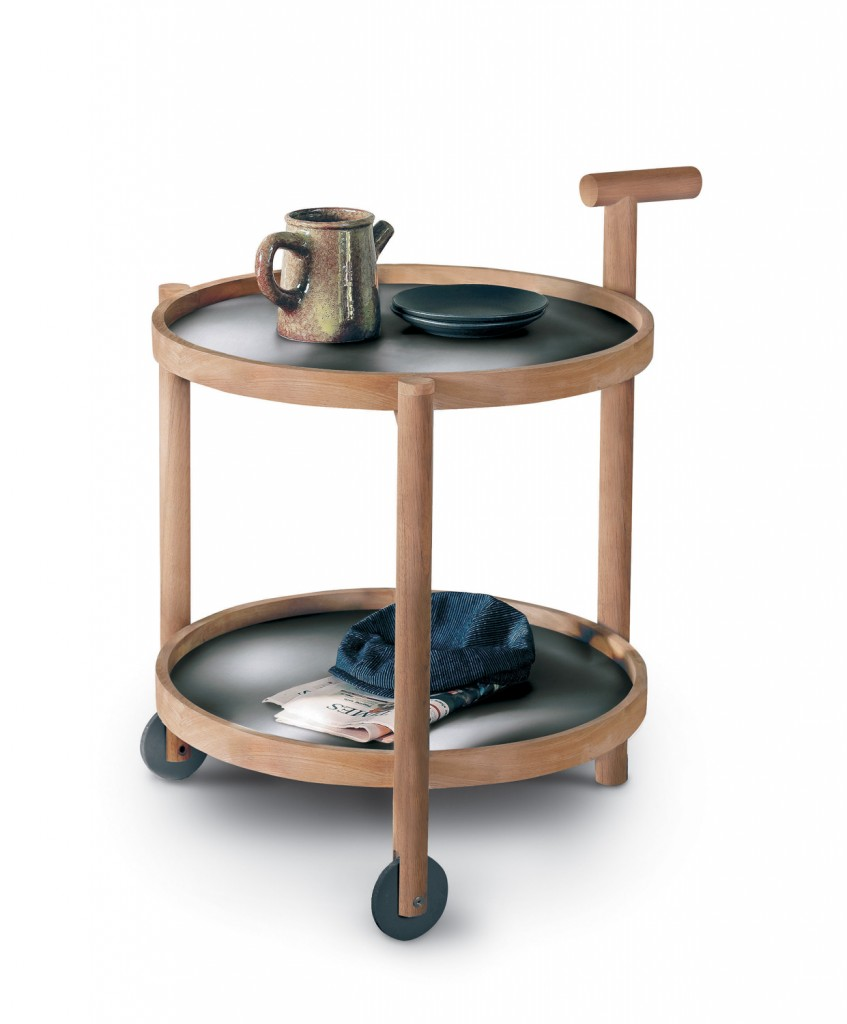 The Roda caddy, made of timber and stainless steel, from Contempo www.contempocollection.com.au
