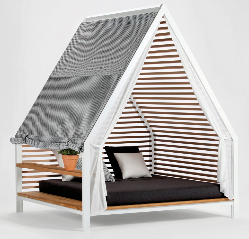 Kettal's cosy Cottage daybed for two, featuring modern wooden struts, from Mobilia www.mobilia.com.au