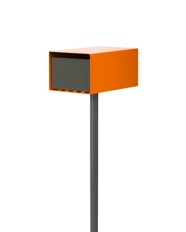 The contemporary Lobos letterbox in orange and grey from Ute Design www.utedesign.com.au